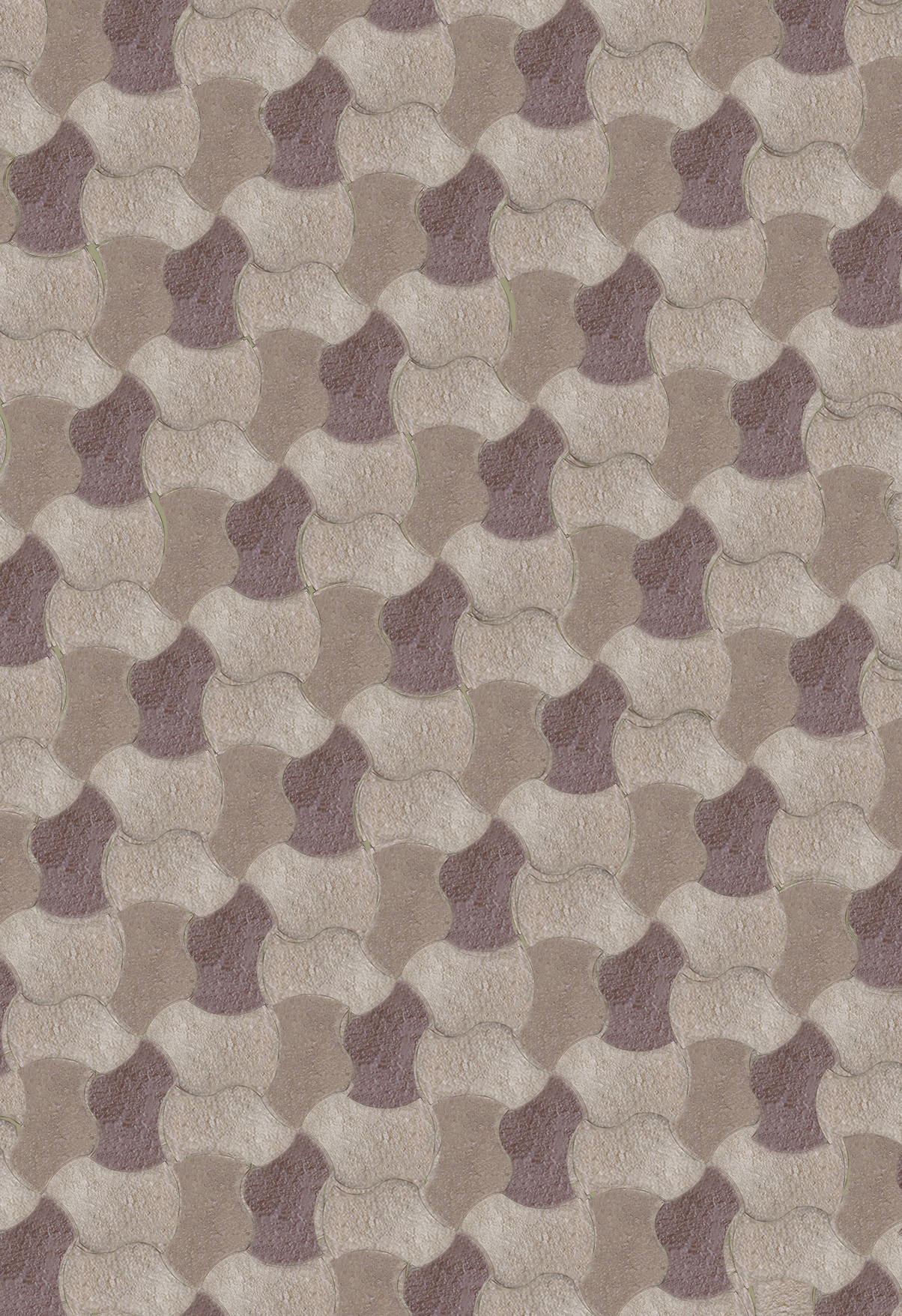 3 Color Alternating Weave Installation Pattern: Buff, Brown & Tan